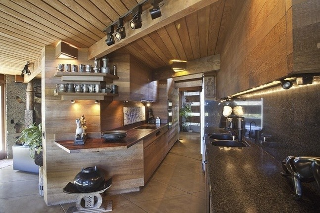 The kitchen is fully integrated into the rest of the house's design, organic all the way.