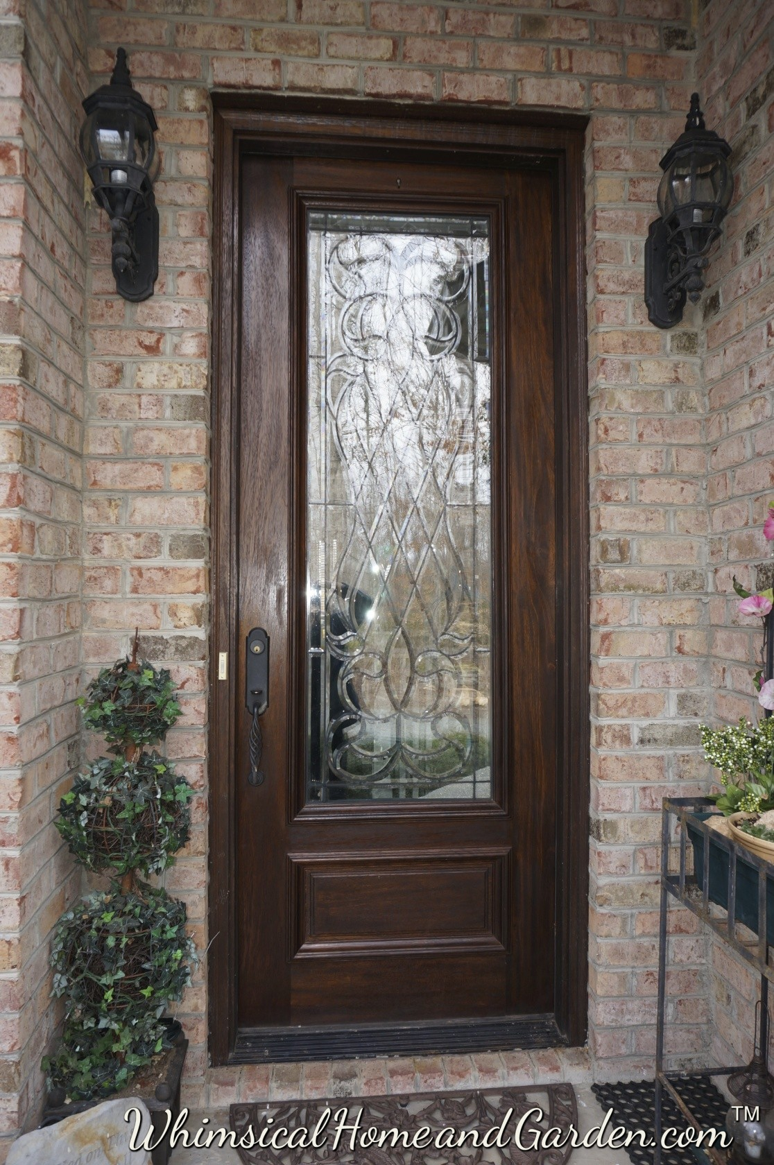 Front door ideas on pinterest beveled glass wood entry for Exterior doors with glass