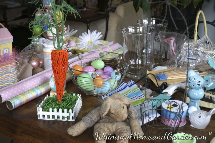 Some of the items I started gathering from around the house, from my previous Easter cache, and some from the thrift store and Dollar store. An afternoon of fun for me.......