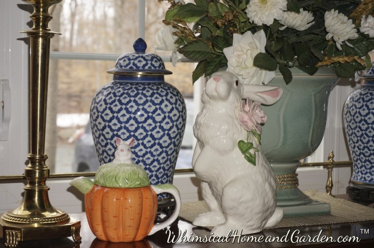 Here I simply placed a cute rabbit topped teapot next to Missy rabbit.......