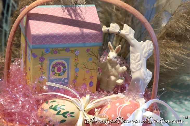 """When I came back past this arrangement, the light had changed. Bunny is still swinging after several hours. It was straight out of Beatrix Potter.........I fully expected Squirrel Nutkin to open the door and yell....""""time for dinner""""........."""