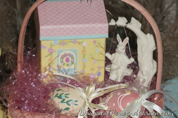 A close up of the basket arrangement.......The bunny seems to be enjoying himself..........