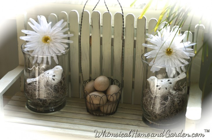 I placed the two glass containers on this sweet little bench that stays on the floor in my kitchen, along with the wire basket........
