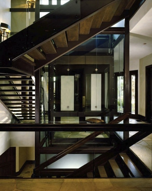 Stunning Staircase And Elevator Design Ideas: Stone, Wood & Glass Creates A Stunning Home