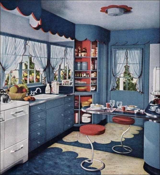Vintage Red Kitchen Design Ideas ~ A way to think about red white and blue