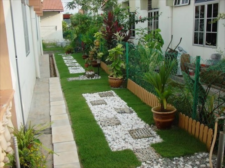 Garden Ideas For Narrow Spaces convert your building site into a low maintenance pebble garden thai garden design the Garden Design With Garden Walls With Landscaping With Stone From Whimsicalhomeandgardencom