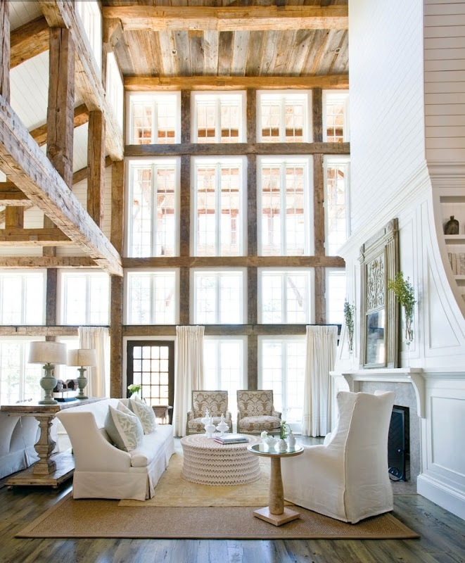 Great Atlanta Home Tracery Interiors Lake Martin Living Room Reclaimed Wood Beams  Ceiling Tall Fireplace