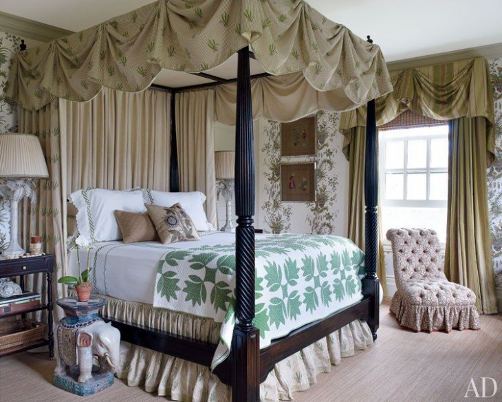 In A Guest Room The Antique Quilt And Clarence House Fabric Canopy On British Khaki Collection Bed By Robert Lighton Share Leafy Motif Carpeting