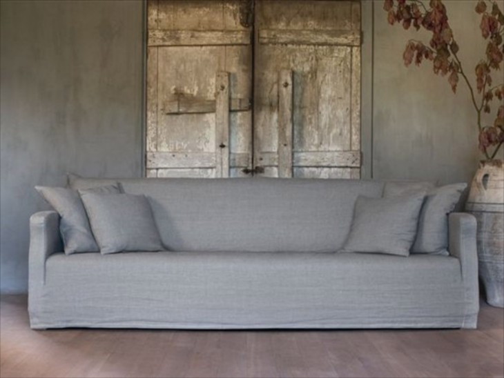 Another Gorgeous Sofa Dressed In Linen With Wood Shutters Providing Texture  And Interest.