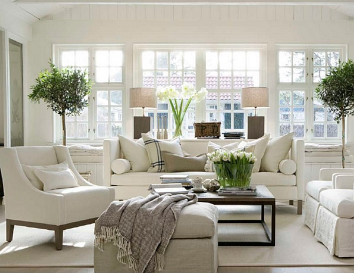22Cozy Traditional Living Room Indoor Plant Modern White