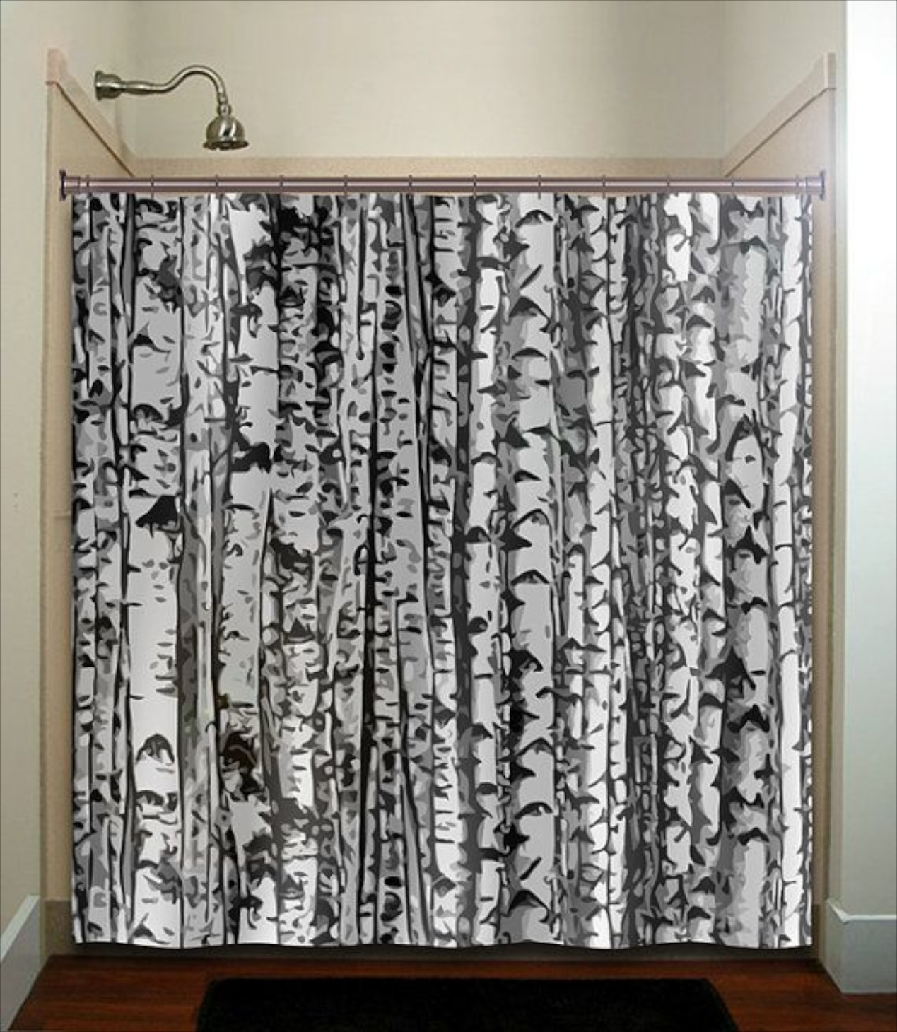 Birch tree shower curtains - Here A Printed Birch Branch Shower Curtain Adds A Fun Vibe