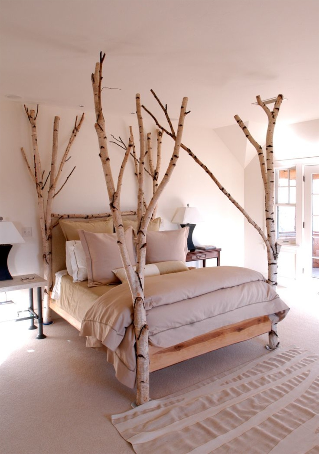 a nice example of using birch limbs around a bed frame in a neutral room - Enclosed Bed Frame