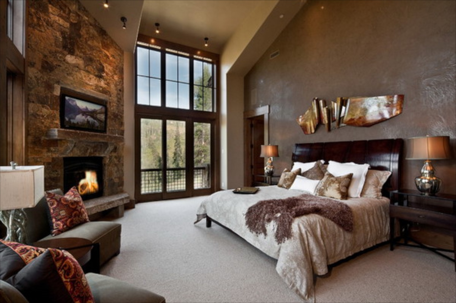 Bedroom stone fireplace - Bedroom Stone Fireplace 2
