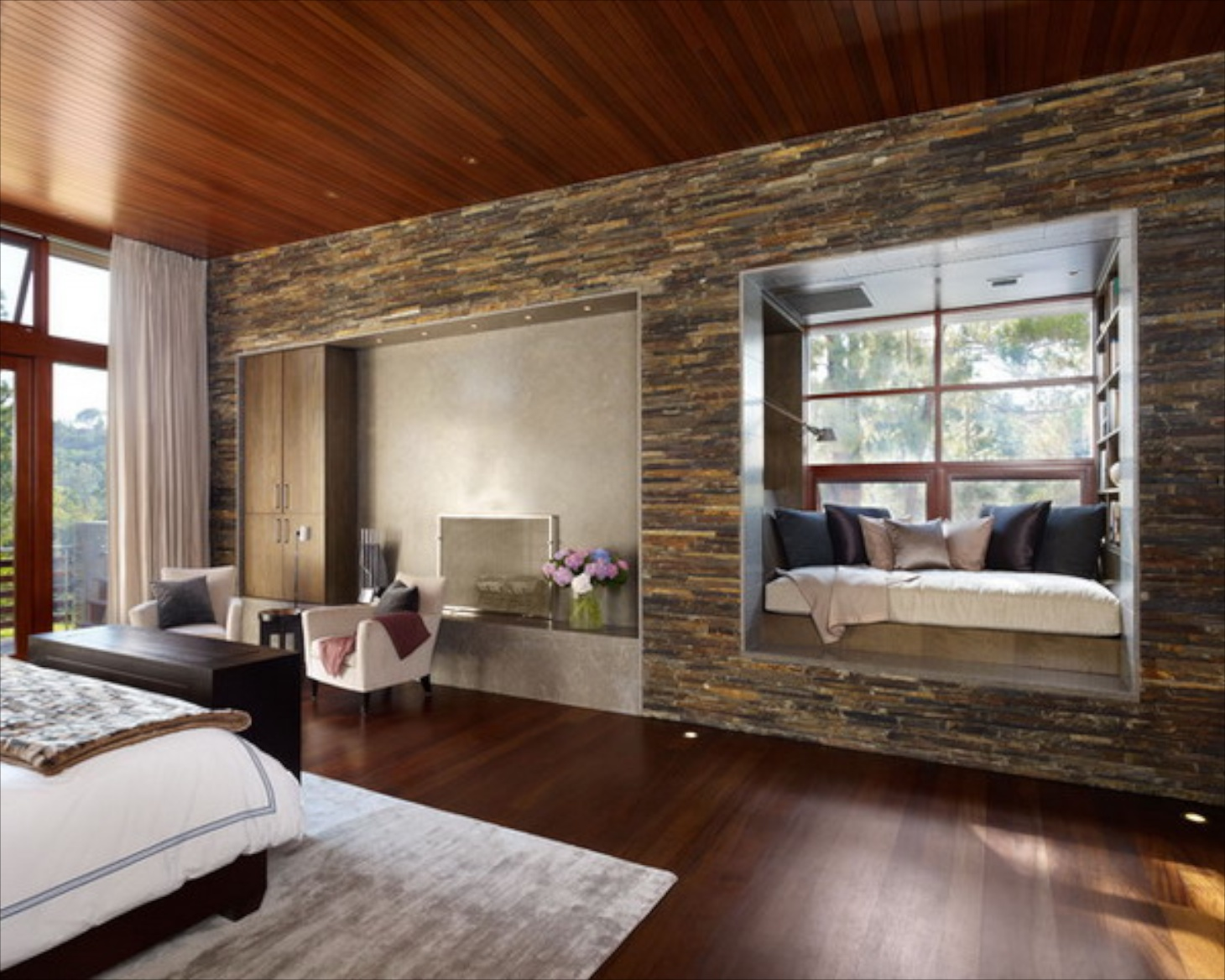 Creating Niches Is A Good Way To Incorporate Stone Into Modern Or Rustic Bedroom I Would Love Style The Niche For TV Area With Lights Above