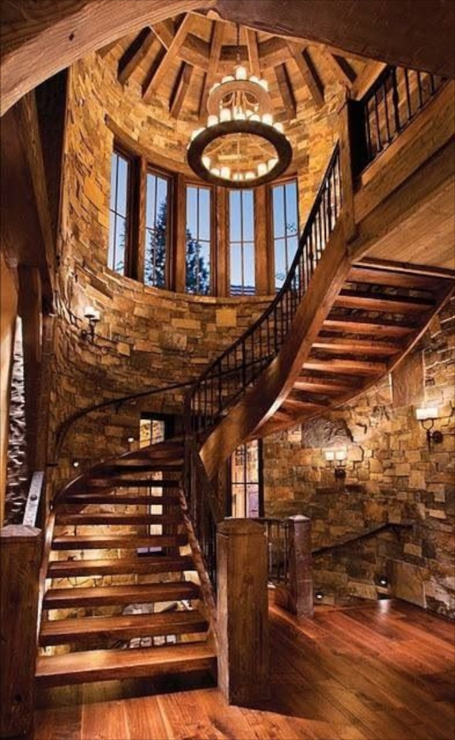 Decorating with stone inside the home for Arched staircase
