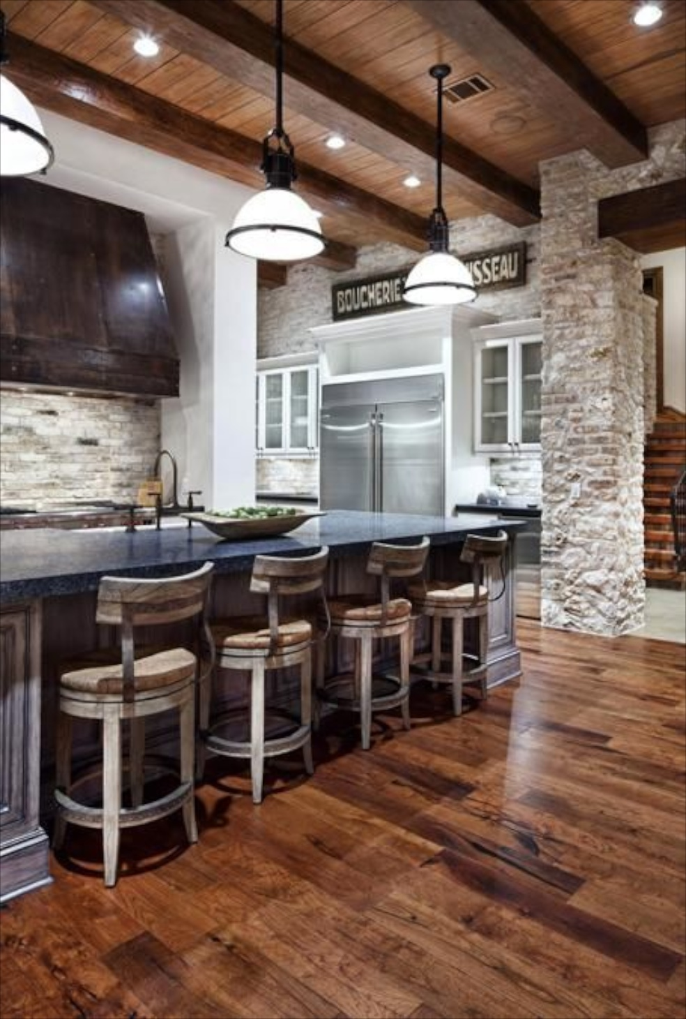 Decorating with stone inside the home for Industrial flooring for homes