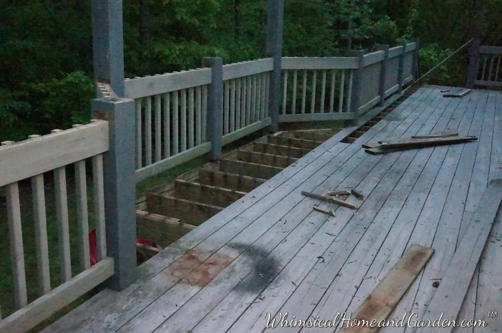 They started removing the old decking in the bay area, having already removed the top rails.