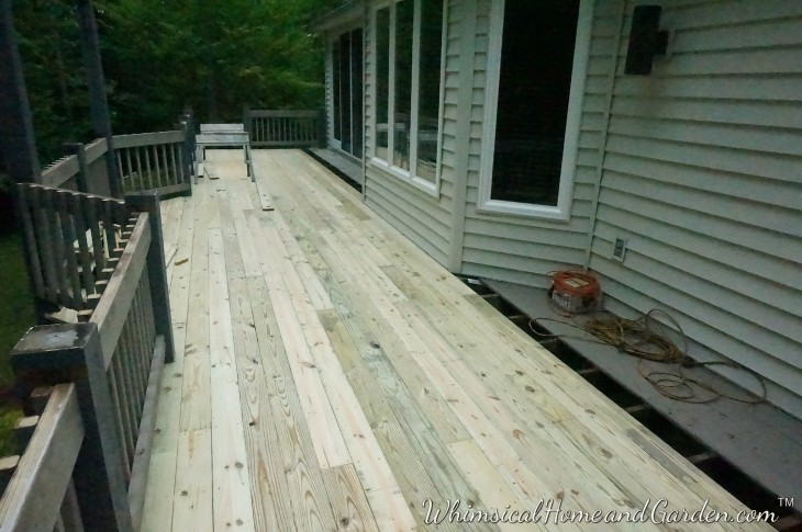 After another day the deck is moving along.