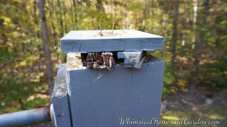 The post tops had rotted for the most part. The two tall ones in the bay were replaced with copper solar lights.