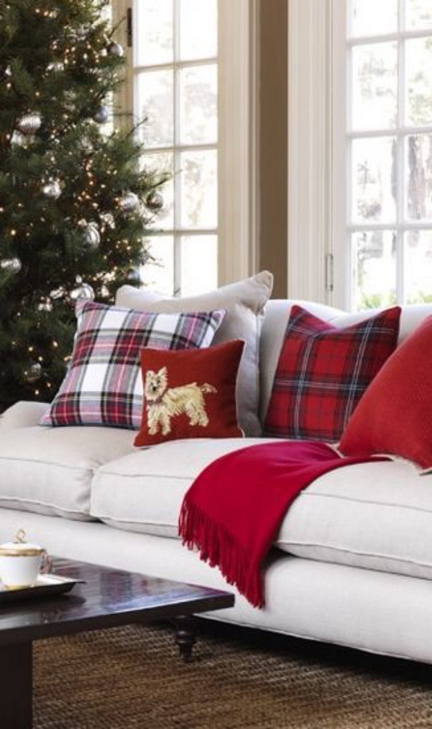 It s a plaid plaid plaid christmas for How to decorate couch with pillows