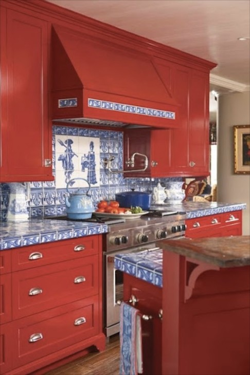 Bright Red And Delft Blue Tiles Take Center Stage In A White Walled Kitchen Now This Is Color Packed Traditional E For Sure